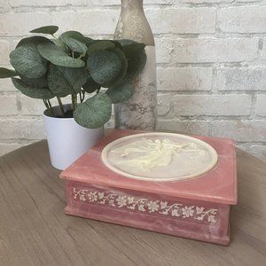 Genuine Incolay Stone Vintage Pink Jewelry Box